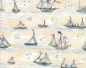 Moda Fabric - Ahoy, Me Hearties by Janet Clare - 1/2 yard - 1432 14 Cream with Tall Ships - Cotton Fabric