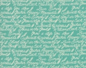 Moda Fabric - Cultivate Kindness by Deb Strain for Moda - 19933 16 -  Teal with off white script words - 100% cotton - 1/2 yard pricing