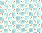 Moda Fabric - Lulu Lane by Corey Yoder - 1/2 yard - 29024 18 Light Aqua Checks with coral flowers - Cotton Fabric