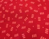 Moda Fabric - Barnyard Buddies by Amy Bradley - 1/2 yard - 13074 Red with pink hay bale shapes - Cotton Fabric