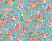 Moda Fabric - Coco by Chez Moi 33392 - 15 - 1/2 yard - Blue with Floral design - Cotton Fabric