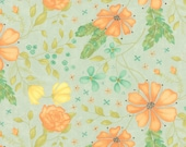 Moda Fabric - Refresh by Sandy Gervais - 17860 13 - Light green with peach and coral flowers - cotton fabric- 1/2 yard