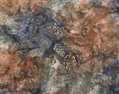 "Batik - Moda Reflections II by Holly Taylor - 4100 18 - 100% cotton Brown, blue, green batik fabric with leaf print - 44"" wide - 1/2 yard"