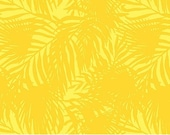 Island Sun Cotton Fabric by Northcott - 22619-52 - Yellow with tropical ferns - 1/2 yard