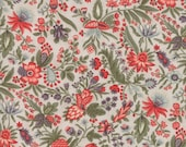 Moda Fabric - Quill by 3 Sisters - 1/2 yard - 44153-11 Light Taupe background red and green Print - Cotton Fabric
