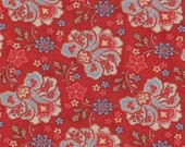 Moda Fabric - Grant Park -  by Minick & Simpson - 1/2 yard - 14772-12 - Red with Blue and red Flower Medium floral print- Cotton Fabric