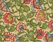 Moda Fabric - Cowgirl Country by Sara Khammash - 1/2 yard - 11301-11 Beige with green and red/pink floral Print - Cotton Fabric