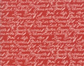Moda Fabric - Cultivate Kindness by Deb Strain for Moda - 19933 15 -  Red with off white script words - 100% cotton fabric- 1/2 yard pricing