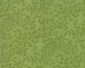 Moda Fabric - Cultivate Kindness by Deb Strain for Moda - 19934 16 - Green on Green with leaf print - 100% cotton fabric- 1/2 yard pricing