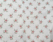 Moda Fabric - American Banner Rose - Minick & Simpson - Ivory with floral -  1/2 yard - 14726 13 Ivory and Red Floral - Cotton Fabric