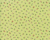 Moda Fabric - Coco by Chez Moi 33395 - 16 - 1/2 yard -  Lime Green with small print Floral design - Cotton Fabric