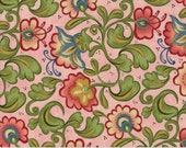 Moda Fabric - Cowgirl Country by Sara Khammash - 1/2 yard - 11305-16 Pink with green and red/pink floral Print - Cotton Fabric