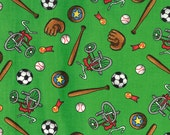 Moda Fabric - Berenstain Bears - Welcome To Bear Country  Cotton Fabric - Green Sports - 55504 15 - 1/2 yard
