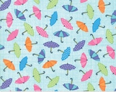 Moda Fabric - Puddle Turquoise blue - Rainy Day by Me and My Sister - 1/2 yard - 22291-13 Small Umbrellas Print - Cotton Fabric