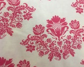 Moda Fabric - Summer House by Lily Ashbury - 1/2 yard - 11441 11 - off-white with hot pink floral swag - Cotton Fabric
