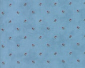 Moda Fabric - Ann's Arbor by Minick and Simpson - 1/2 yard - 14845 - 25 Blue with tiny Red floral print - Cotton Fabric