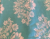 Moda Fabric - Summer House by Lily Ashbury - 1/2 yard - 11441 - Aqua with off-white floral swag - Cotton Fabric