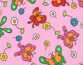 Moda Fabric - Berenstain Bears - Welcome To Bear Country Cotton Fabric - Pink Butterfly - 2 cut pieces sizes in description