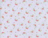 Guernsey Fabric - Brenda Riddle for Moda - 18643 16 - 1/2 Yard - light blue with floral Swag