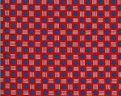 Moda Fabric -America the Beautiful by Deb Strain - 1/2 yard - 19987 11  red with white stripes and blue stars - Cotton Fabric