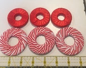 Pattern weights - Use instead of Pins when Cutting out a Sewing Pattern - Or Just Hold Your Book Open - Red/white - Ribbon