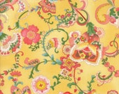 Moda Fabric - Coco by Chez Moi 33390 - 11 - 1/2 yard - Yellow with Floral design - Cotton Fabric