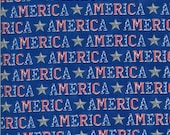 Moda Fabric -America the Beautiful by Deb Strain - 1/2 yard - 19983 14  Royal Blue with the word America - Cotton Fabric