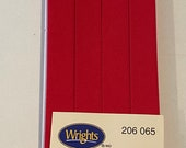 Extra Wide Double Fold Bias Tape - by Wrights  - 1/2 inch - 55 Polyester/45 Cotton - Red 206 065