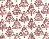 Moda Fabric - Hearthside Holiday by Deb Strain - 1/2 yard - 19831-16 Holly Jolly Red Tree on white Print - Cotton Fabric