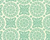 Moda Fabric - Refresh by Sandy Gervais - 17861 13 - Ivory with Light green circular print design - cotton fabric- 1/2 yard