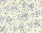 Moda Fabric - Grant Park -  by Minick & Simpson - 1/2 yard - 14773-14 - Ivory with light blue floral print- Cotton Fabric