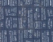 Moda Fabric - Sweet Tea by Sweatwater - 1/2 yard - 5720-15 Navy Word Print - Cotton Fabric