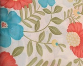 Moda Fabric - Lovely by Sandy Gervais -  Cotton Fabric 17571 - 1/2 yard - ivory, coral, yellow, turquoise