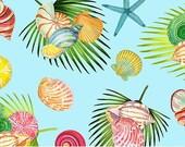 Island Sun Cotton Fabric by Northcott -DP22624-61 - Sky Blue with ferns and seashells - 1/2 yard