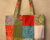 Moda - Charm Street Market Tote Kit - DIY bag Kit -  Dear Mum by Robin Pickens - Red/orange lining and straps with interfacing