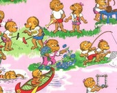 """Moda Fabric - Berenstain Bears - Welcome To Bear Country - Pink 55501 13 - 3 pieces each 10""""wx30""""long"""
