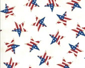 Moda Fabric -America the Beautiful by Deb Strain - 1/2 yard - 19988 12  White with patriotric stars - Cotton Fabric