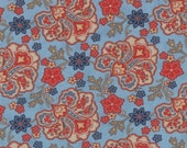 Moda Fabric - Grant Park -  by Minick & Simpson - 1/2 yard - 14772-15 - Blue with Red, blue, and beige floral print- Cotton Fabric