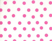 Moda Fabric - Berenstain Bears - Welcome To Bear Country Cotton Fabric - White Pink Dot 55506 14 - 1/2 yard