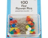 "Collins Flat Flower Pins - 2"" - 100 pcs - Straight pins for holding fabric layers together - Assorted colors - great when Rotary Cutting"