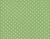 Moda Fabric - Good Tidings by Brenda Riddle - 1/2 yard - 18666-20 Green with white dots - Cotton Fabric