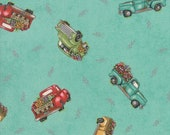 Moda Fabric - Cultivate Kindness by Deb Strain for Moda - 19931 13 -  Teal with vintage trucks - 100% cotton - 1/2 yard pricing