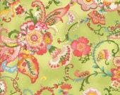 Moda Fabric - Coco by Chez Moi 33390 - 14 - 1/2 yard -Green with Floral design - Cotton Fabric