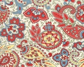 Moda Fabric - Ann's Arbor by Minick and Simpson - 1/2 yard - 14842 - 13 Paisley print with yellow, red and blue - Cotton Fabric