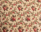Moda Fabric - Mistletoe Manor by 3 Sisters - 1/2 yard - Beige fabric with fruit and vines - cotton fabric