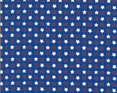 Moda Fabric -America the Beautiful by Deb Strain - 1/2 yard - 19987 14  blue with red stripes and white stars - Cotton Fabric