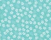 Moda Fabric - Lulu Lane by Corey Yoder - 1/2 yard - 29023 18 Light Aqua with white flowers - Cotton Fabric