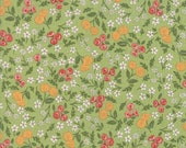 Moda Fabric - Cultivate Kindness by Deb Strain for Moda - 19932 15 - Green with small floral print - 100% cotton fabric - 1/2 yard pricing