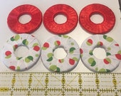 Pattern weights - Use instead of Pins when Cutting out a Sewing Pattern - Or Just Hold Your Book Open - Red/white/green - Ribbon