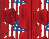 Moda Fabric -America the Beautiful by Deb Strain - 1/2 yard - 19981 11  Red with patriotic stars - Cotton Fabric